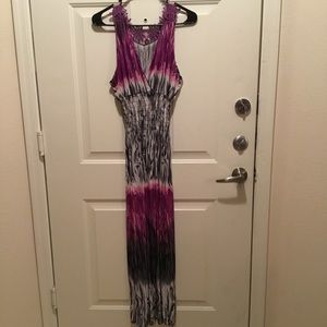 Embroidered Racerback Long Dress